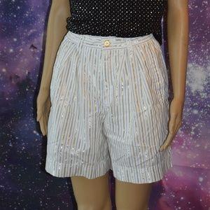 Lizwear Size 2P Metallic Gold Striped Shorts